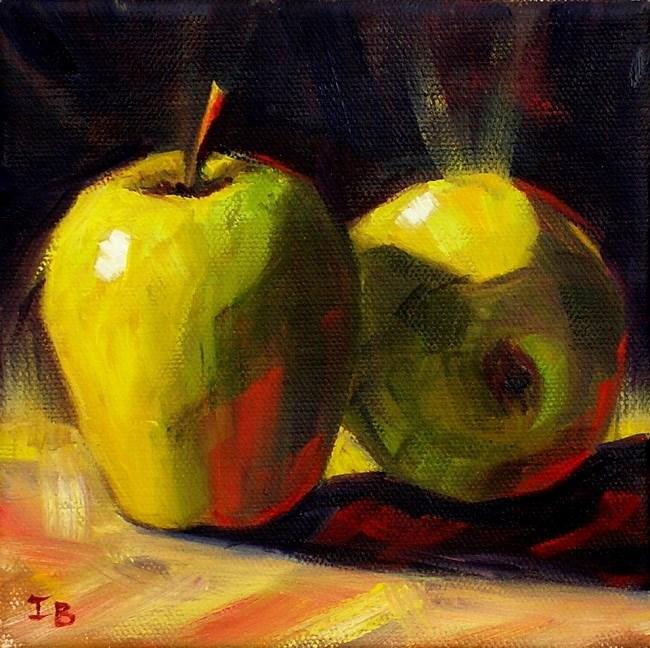 """Two Big Green Apples"" original fine art by Irina Beskina"