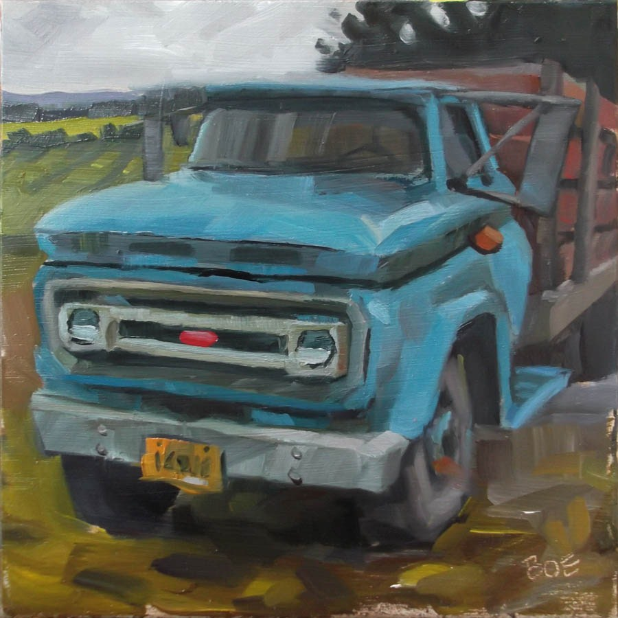 """Vineyard Workhorse"" original fine art by Karen Boe"