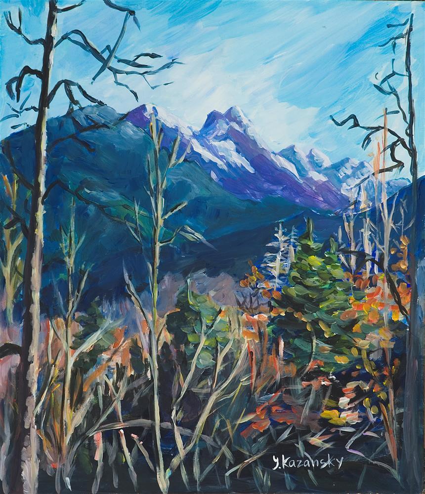 """Juneau, Alaska Mountains"" original fine art by Yulia Kazansky"