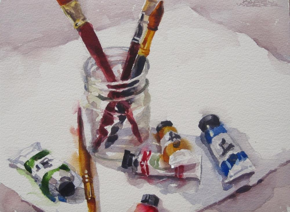 """Tubes & Brushes"" original fine art by Karen Werner"
