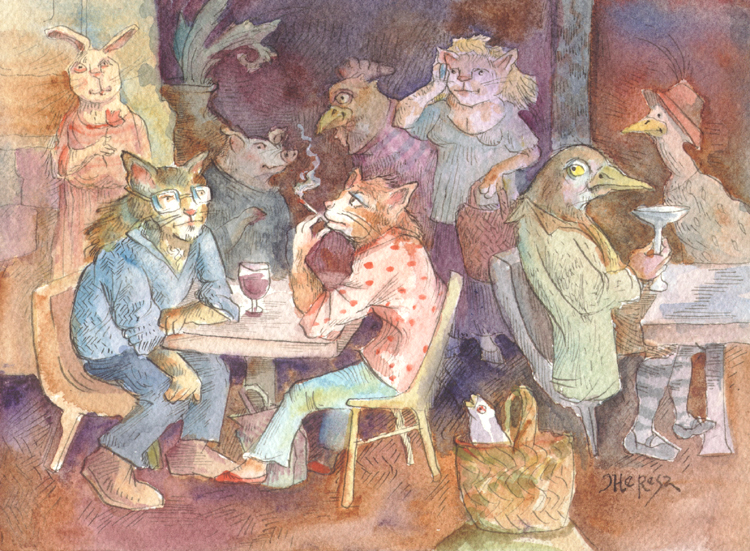 """Saturday Cafe"" original fine art by Theresa Taylor Bayer"