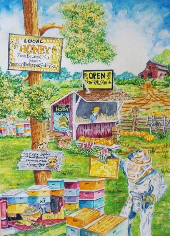 """""""Honey Bees at Work  #204"""" original fine art by Jim Whiteside"""