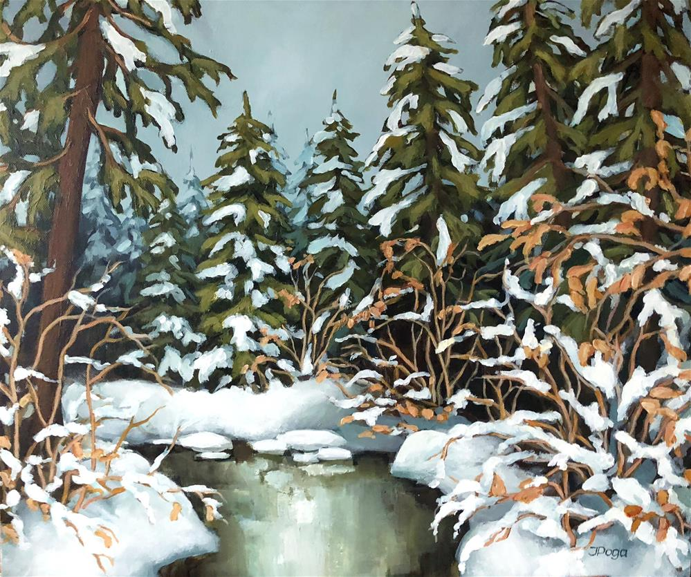 """Creek, winter, snow"" original fine art by Inese Poga"