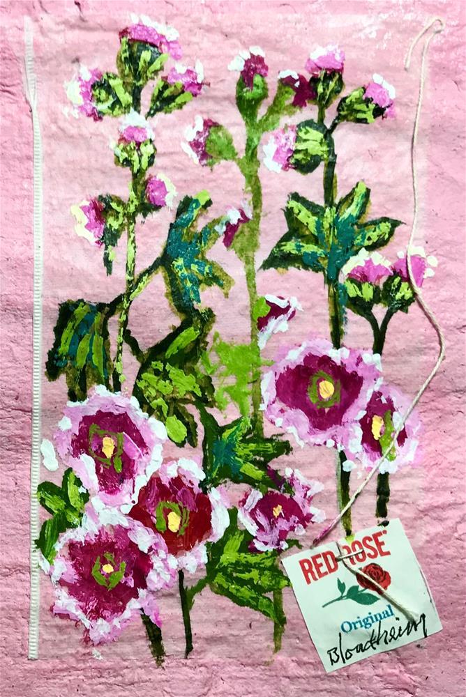 """""""Hollyhock Blooms"""" original fine art by Linda Blondheim"""