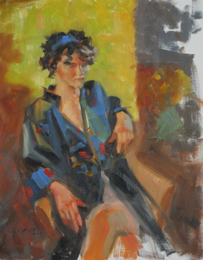 """Chinese coat 11x14 oil"" original fine art by Claudia Hammer"