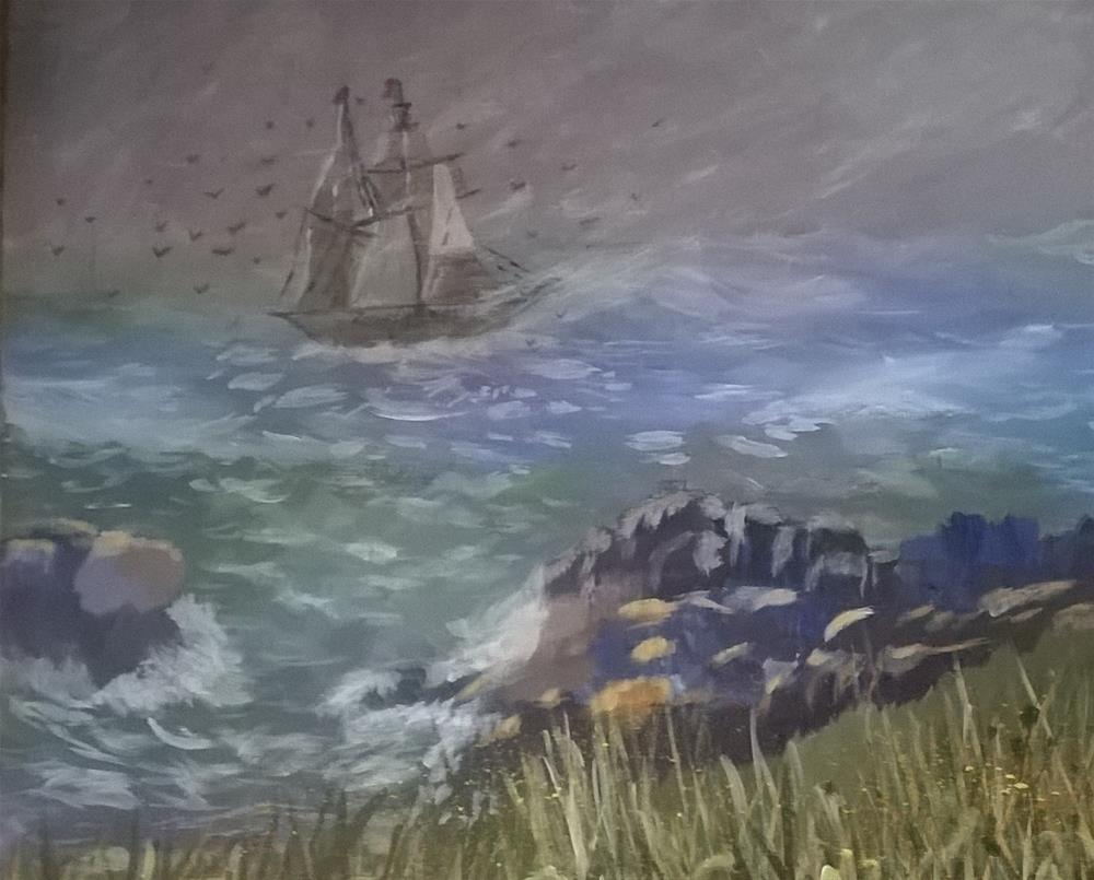"""Calming the raging seas"" original fine art by Cindy Jensen"