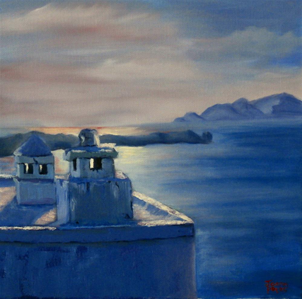 """rooftop view"" original fine art by Joann Polos"