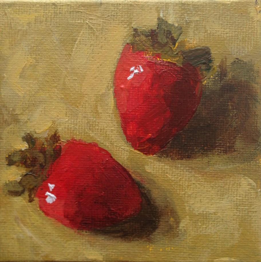 """Two Strawberries"" original fine art by Shannon Bauer"