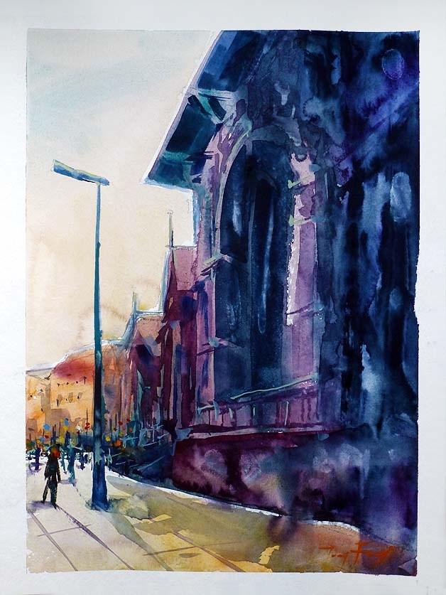 """""""Unterwegs in Karlsbad 2"""" original fine art by Jurij Frey"""