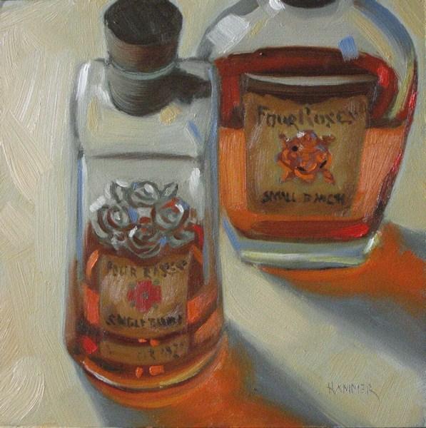 """Four Roses in tandem 6x6 oil"" original fine art by Claudia Hammer"