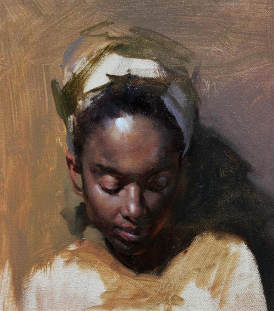 """""""Portrait painting in progress"""" original fine art by Fongwei Liu"""