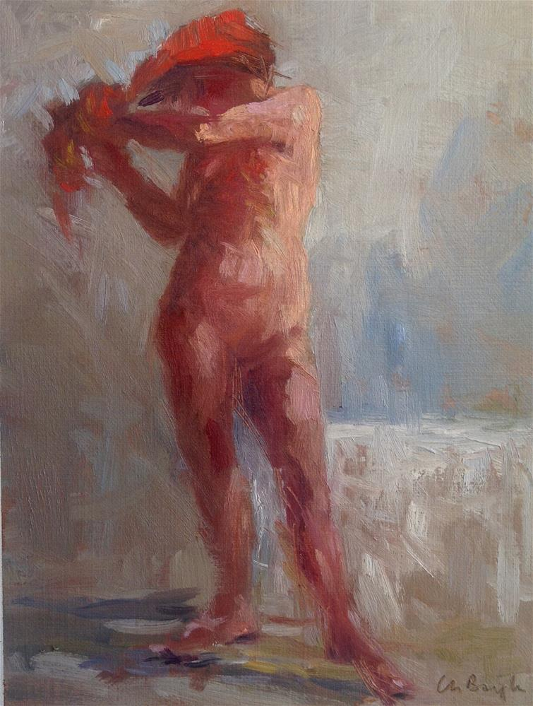 """Out of bath (red towel)"" original fine art by Christine Bayle"