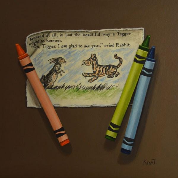 """Tigger and Rabbit with Crayons"" original fine art by Kim Testone"