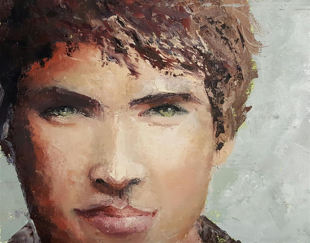"""MY POOL BOY'-)"" original fine art by Ronel Alberts"