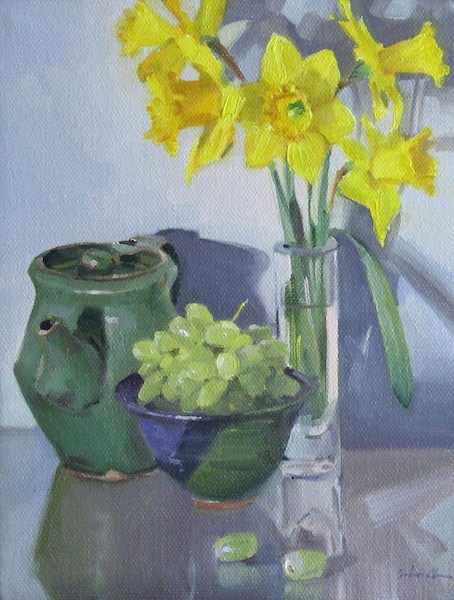 """""""Daffodils and Green Grapes floral art flower painting still life fruit original oil on canvas"""" original fine art by Sarah Sedwick"""