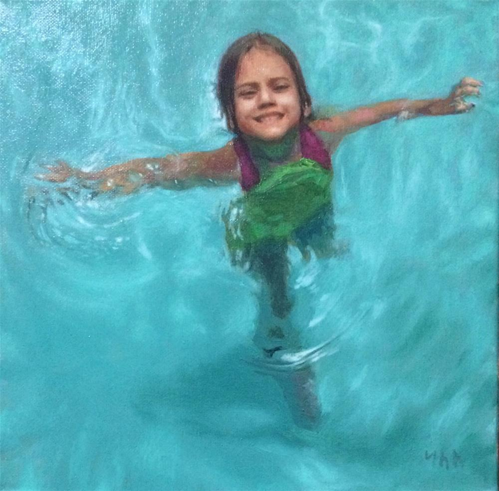 """""""Pool"""" original fine art by Yuehua He"""