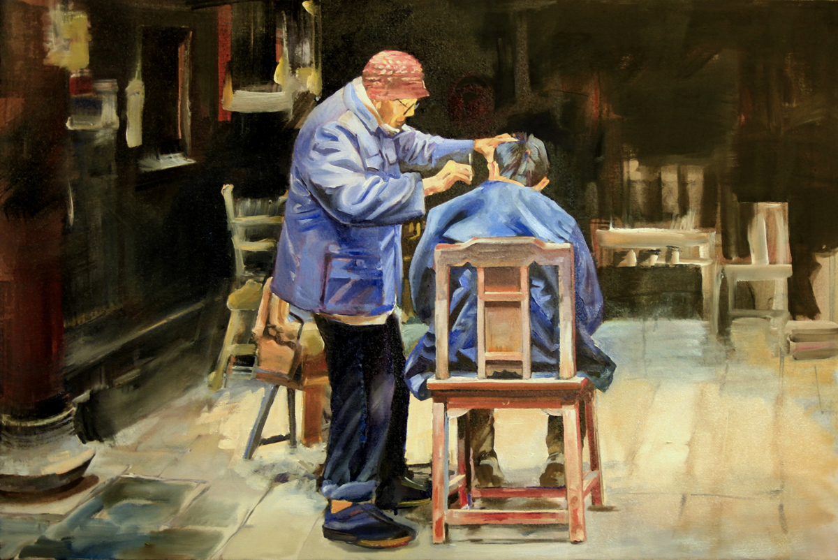 """""""The Barber"""" original fine art by Shirley Peters"""