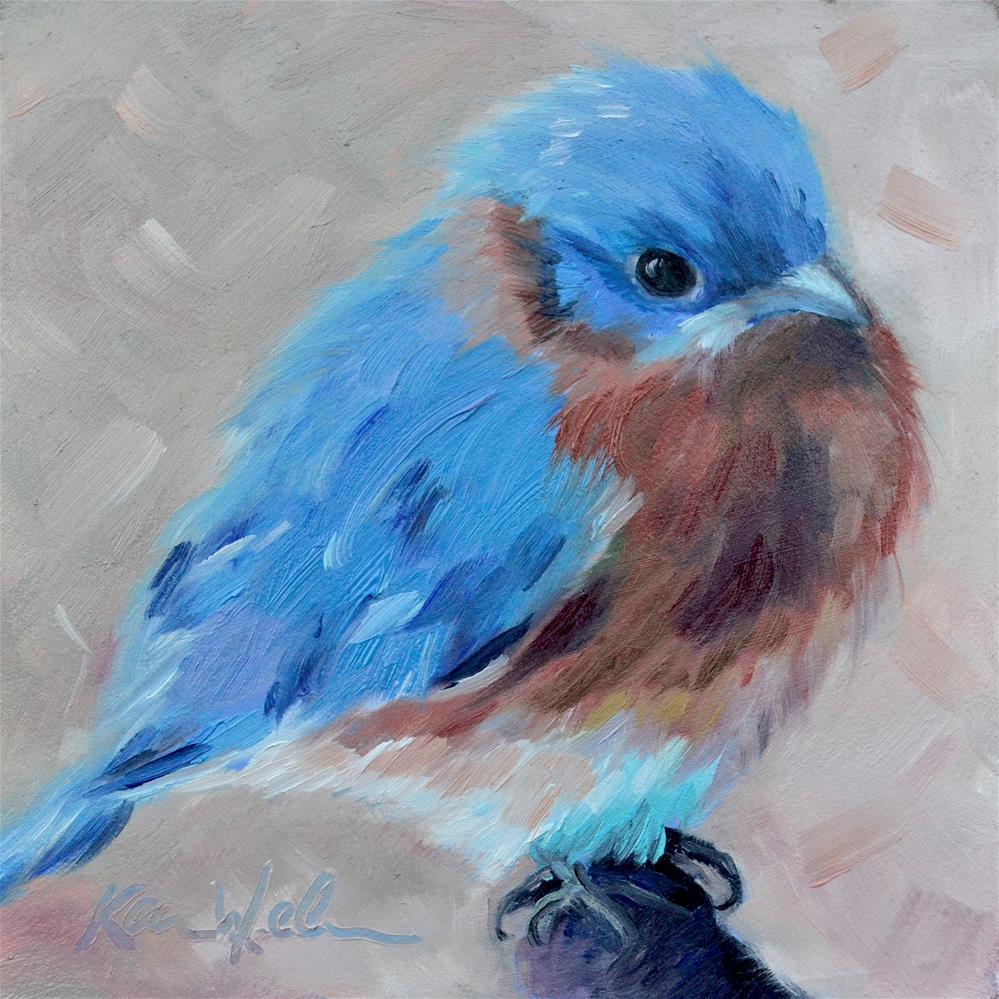 """""""Blue Bird"""" original fine art by Karen Weber"""
