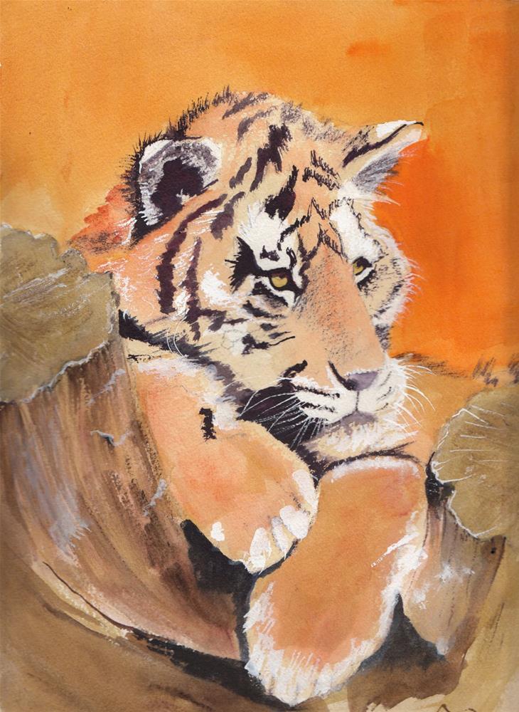 """Tiger on Log"" original fine art by Bunny Griffeth"