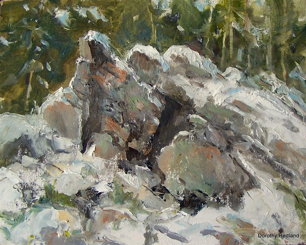 """Snow and granite"" original fine art by Dorothy Redland"