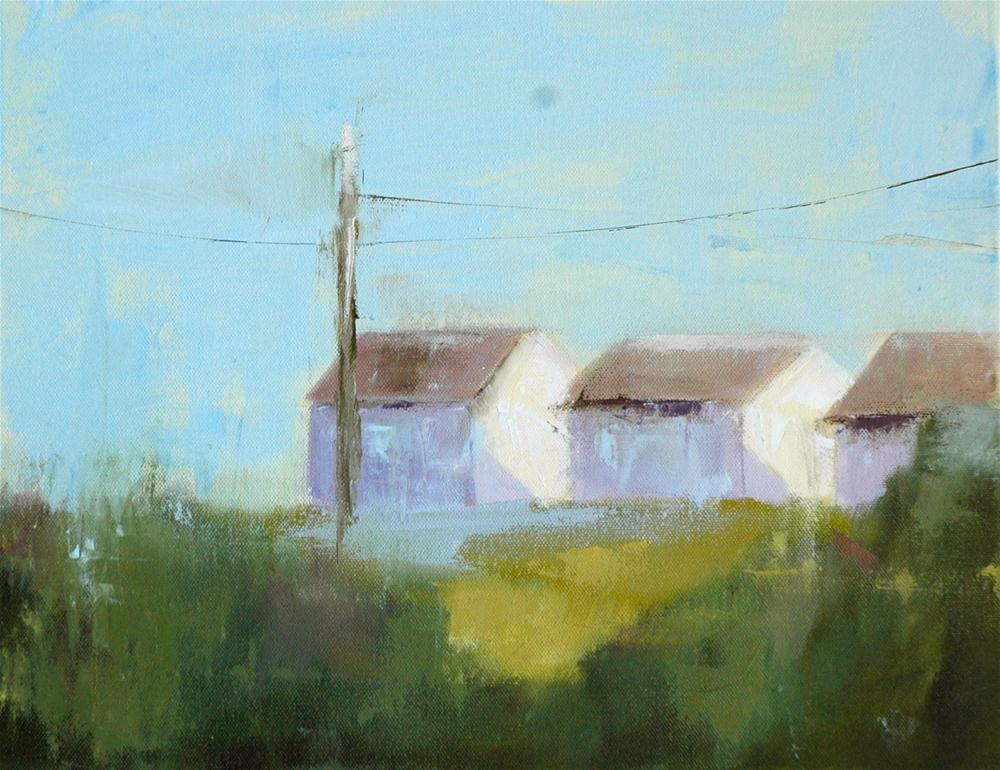 """THREE COTTAGES"" original fine art by Linda Popple"