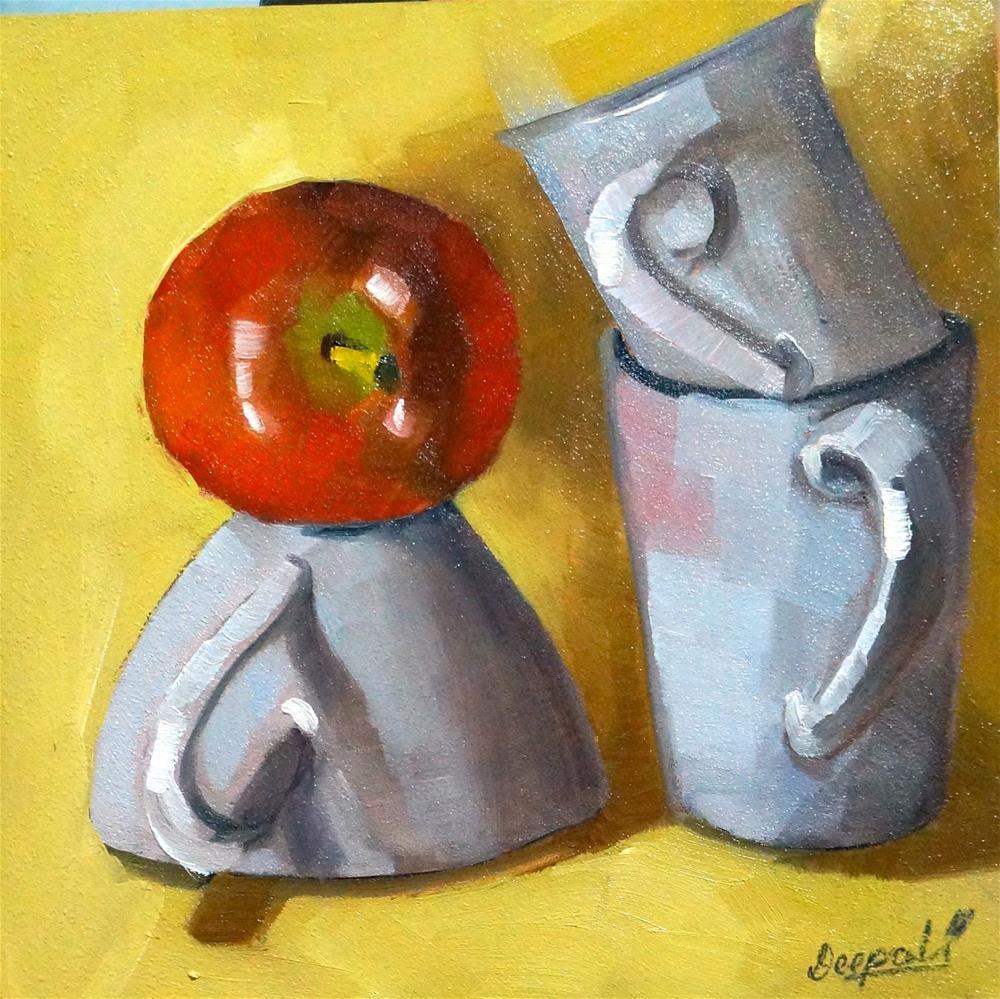 """Apple with Cups"" original fine art by Dipali Rabadiya"