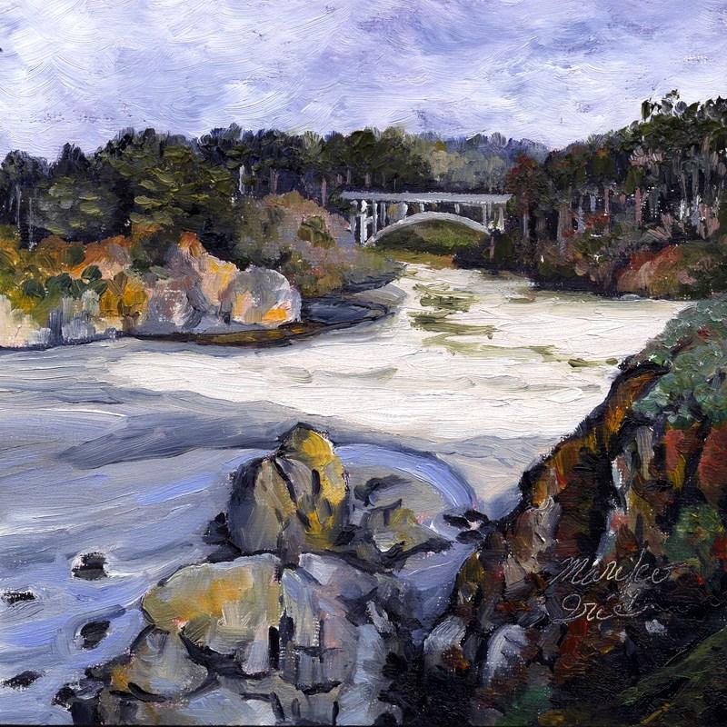 """Jug Handle Creek Bridge"" original fine art by Mariko Irie"
