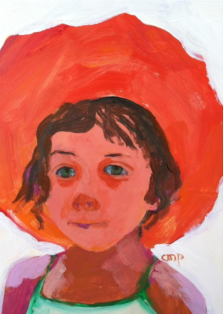 """""""Girl with Red Hat"""" original fine art by Christine Parker"""
