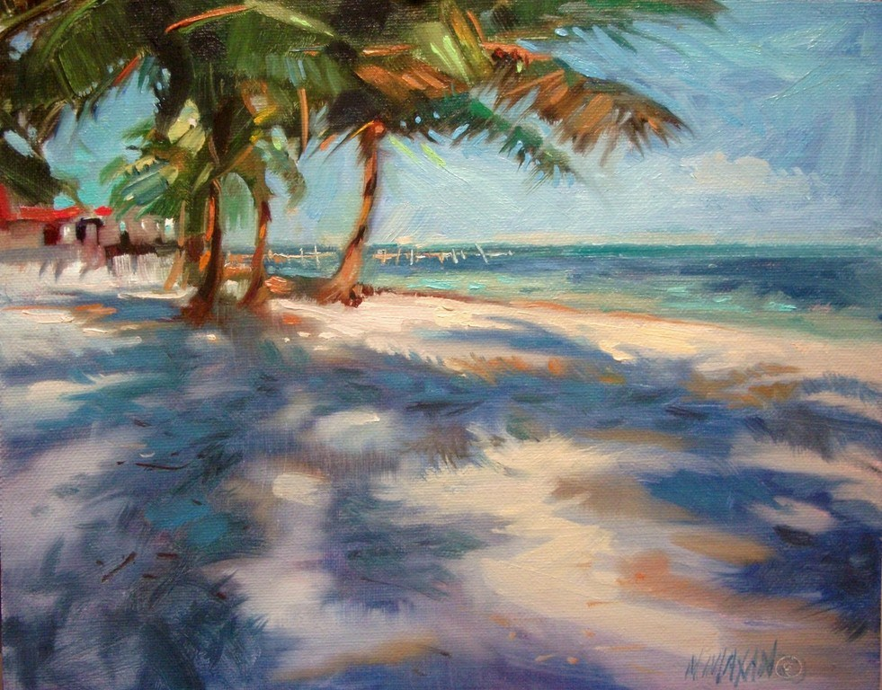 """Afternoon Beach Walk"" original fine art by Mary Maxam"
