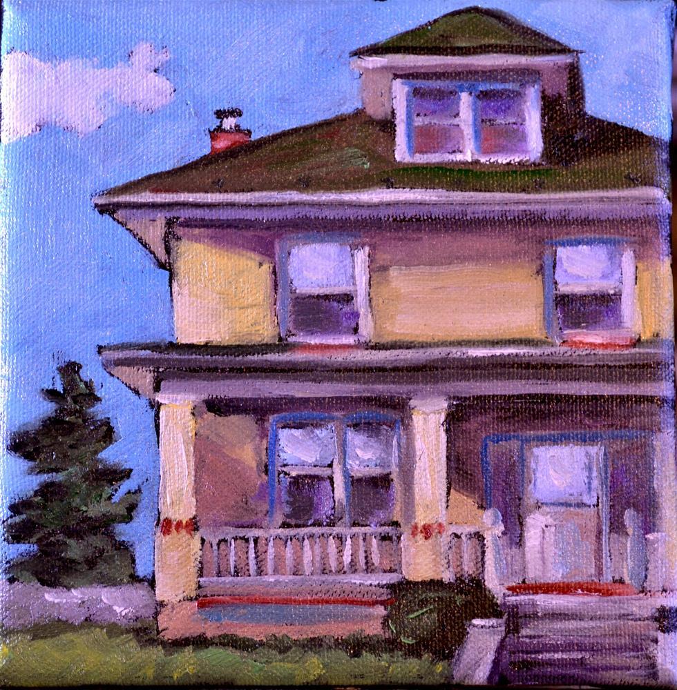 """Yellow house on the avenue"" original fine art by Karen Weber"