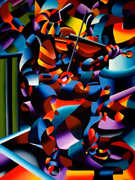 """""""Mark Webster Artist - The Violin Player in Paris - Abstract Futurist Figurative Oil Painting"""" original fine art by Mark Webster"""