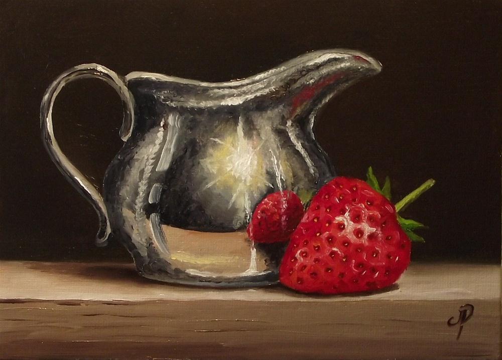"""Strawberry and Silver"" original fine art by Jane Palmer"