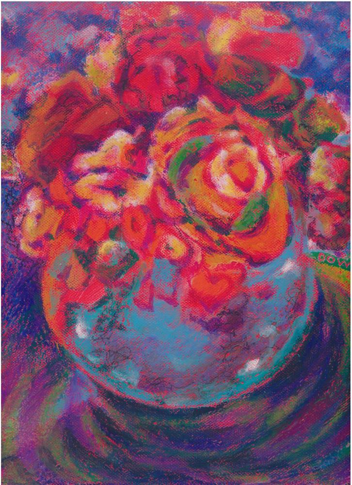 """135 FLOWERS STYLISED 9"" original fine art by Trevor Downes"