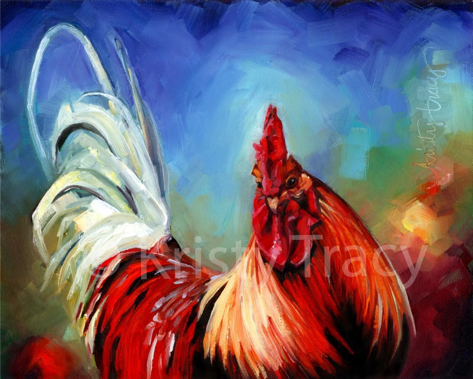 """""""RAINBOW ROOSTER"""" original fine art by Kristy Tracy"""