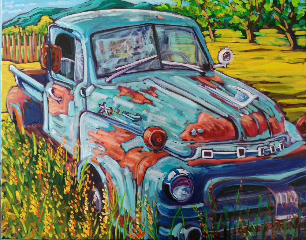 """Truck soaking up sunshine"" original fine art by Robyn Suzanne"