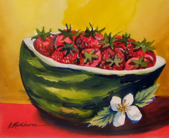 """Strawberry Melon"" original fine art by Kathy Los-Rathburn"