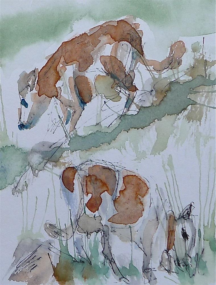 """Cows on the alp"" original fine art by Ulrike Schmidt"