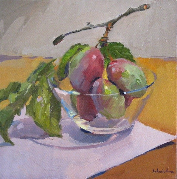 """""""Plums on a Branch fruit food kitchen wall art daily painting original oil"""" original fine art by Sarah Sedwick"""