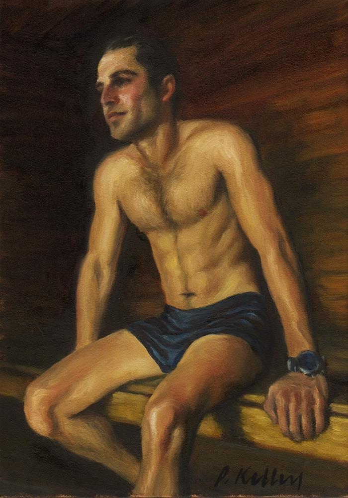 """Man in a Sauna"" original fine art by Pat Kelley"