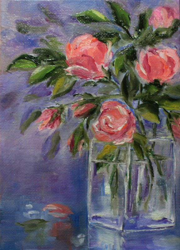 """Just Peachy Roses"" original fine art by Jean Nelson"