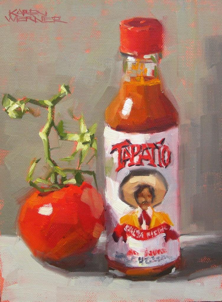 """Tapatio, Tomato & Taupe"" original fine art by Karen Werner"
