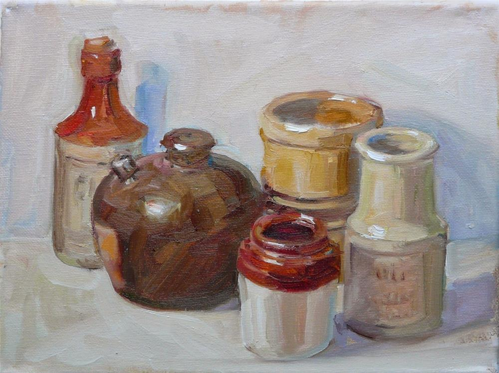 """Earth Tone Jars,still life,oil on canvas,9x12,price$300"" original fine art by Joy Olney"