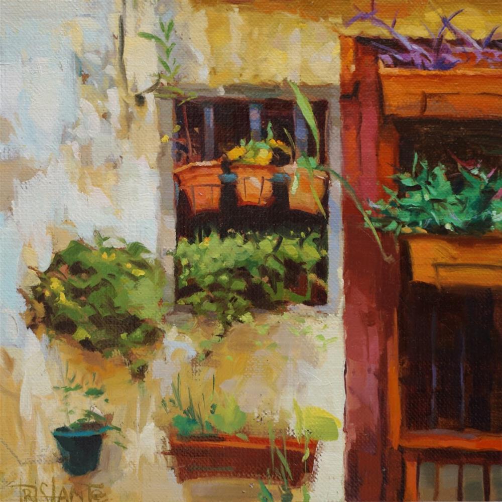 """Wall with pots"" original fine art by Víctor Tristante"