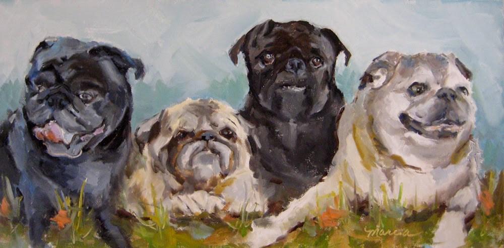 """""""A Mugg of Pugs"""" original fine art by Marcia Hodges"""