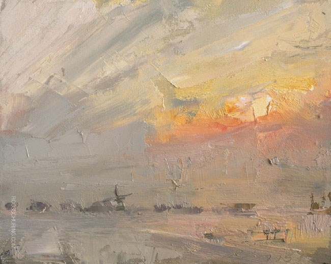 """""""Fog Landscape and Sunrise"""" original fine art by Roos Schuring"""