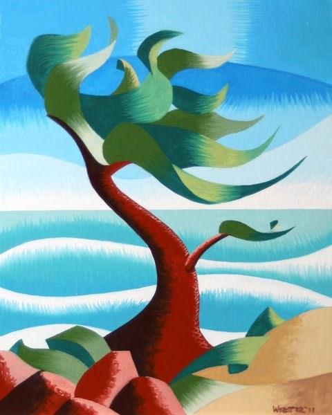 """Mark Webster - Abstract Rough Futurism Cypress Tree #2 Coastal Landscape Oil Painting"" original fine art by Mark Webster"