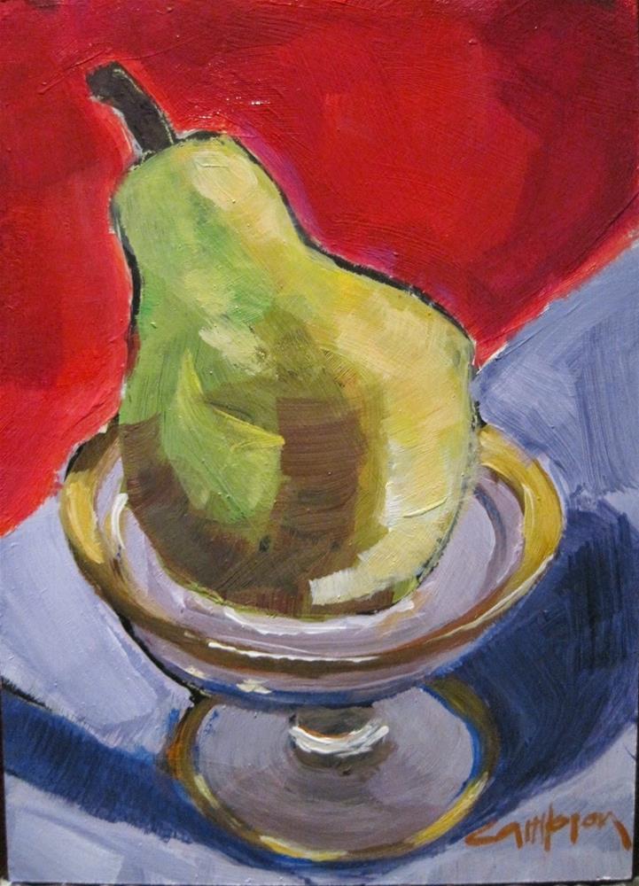 """339 Pear on a Pedestal"" original fine art by Diane Campion"