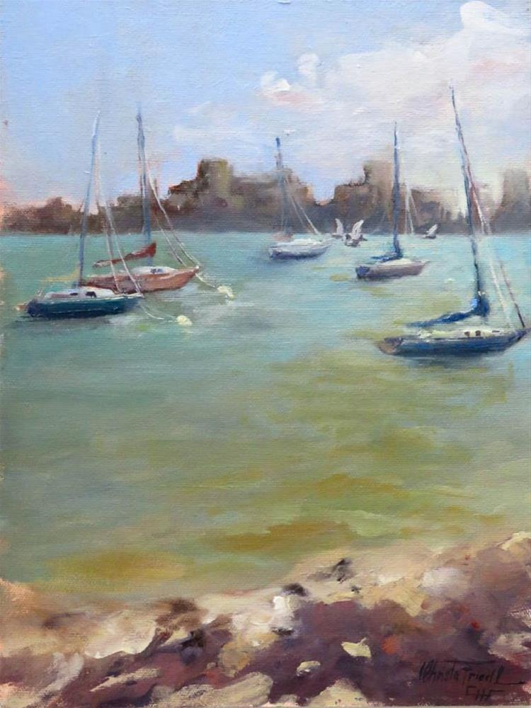 """Hazy morning at Sarasota Bay"" original fine art by Christa Friedl"