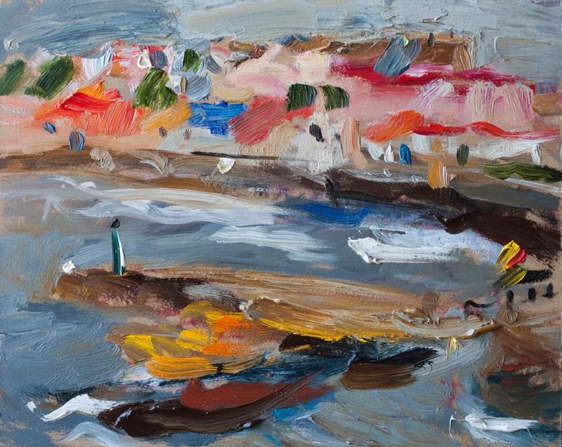 """Cape Palos Seafront, View from the Coastal Rocks"" original fine art by Anna Fine Art"