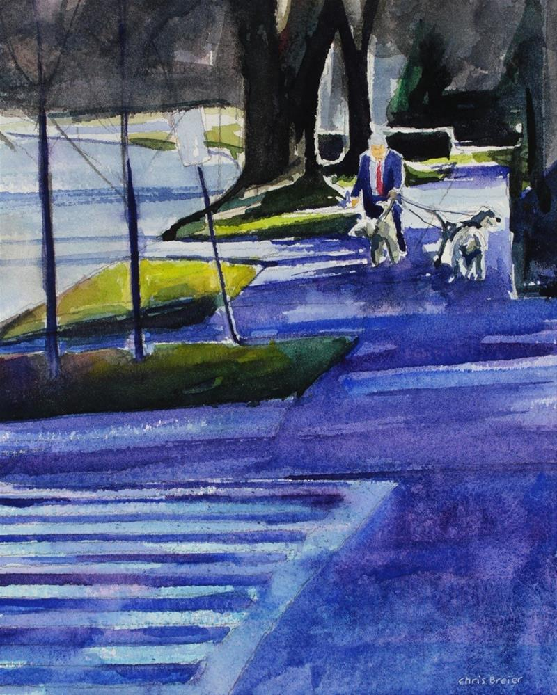 """Walking the Dogs"" original fine art by Chris Breier"